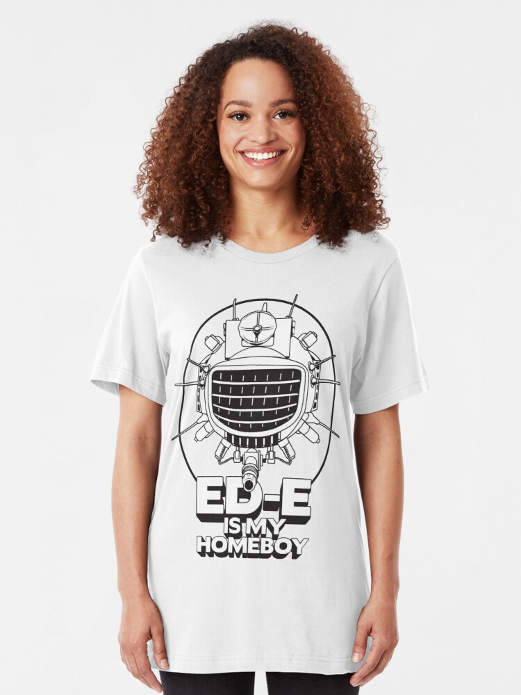 Alternate view of ED-E is My Homeboy on White Slim Fit T-Shirt
