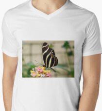 Zebra Longwing Butterfly on Lantana Mens V-Neck T-Shirt