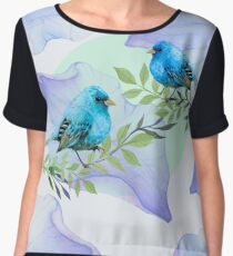 Blue nature - leaves and birds Women's Chiffon Top