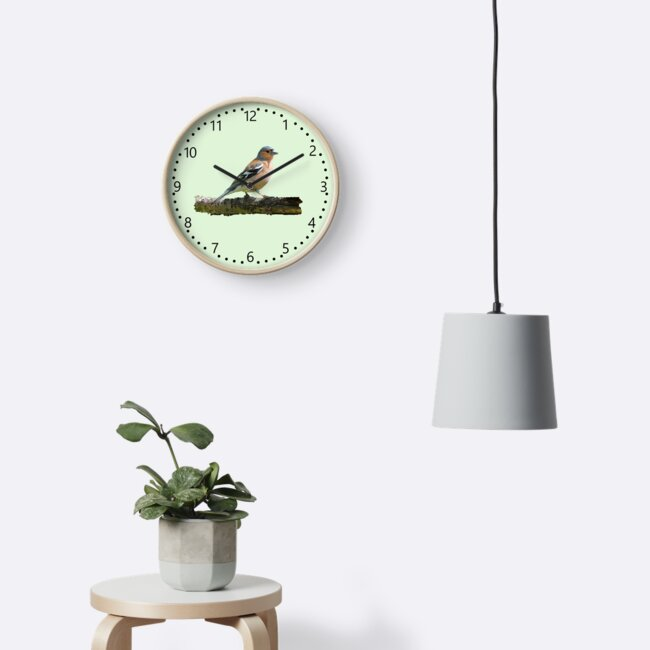 Chaffinch - number dial markings, Green background by ipgphotography