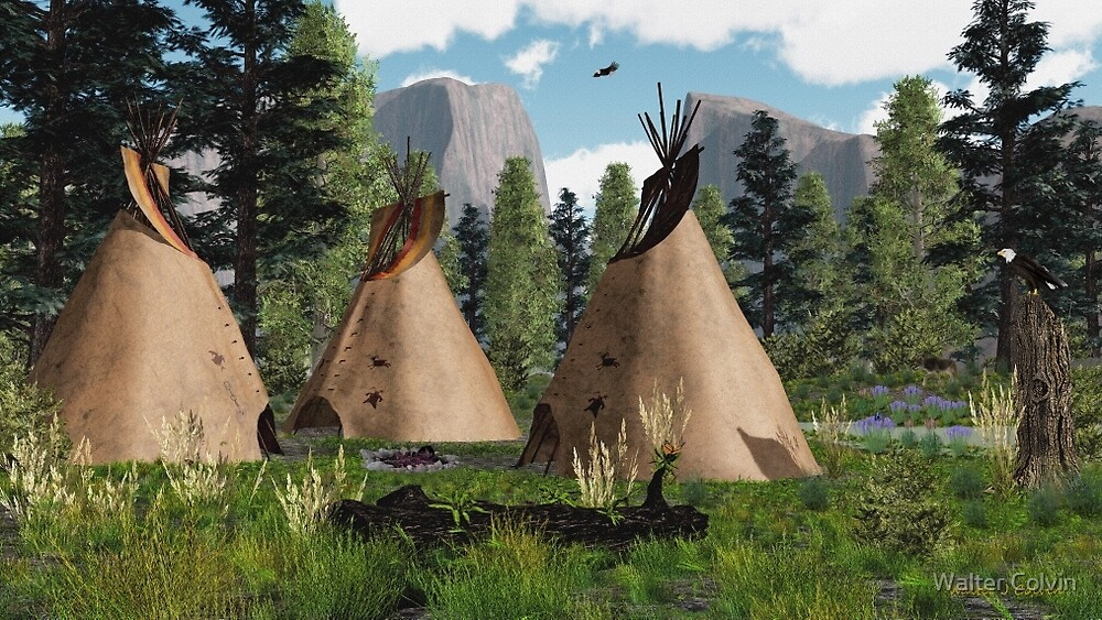Native American Mountian Tepee  by Walter Colvin