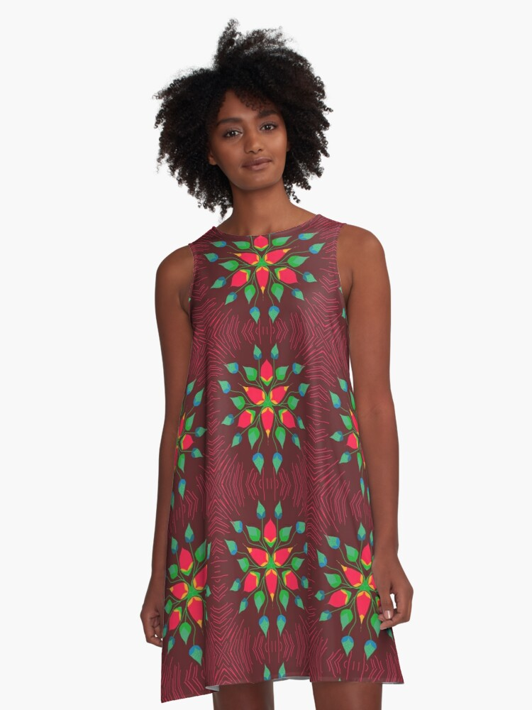 maroon floral A-Line Dress Front