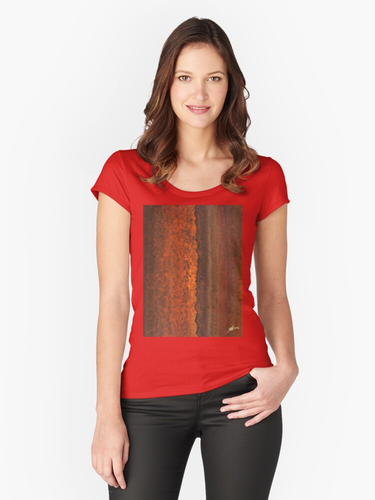 Rough Timber original painting Women's Fitted Scoop T-Shirt Front