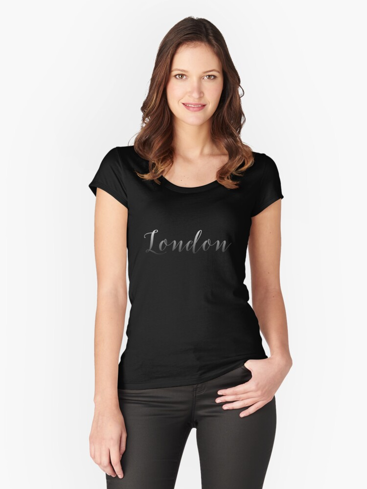London Nights White Script Fade to Black On Black Women's Fitted Scoop T-Shirt Front