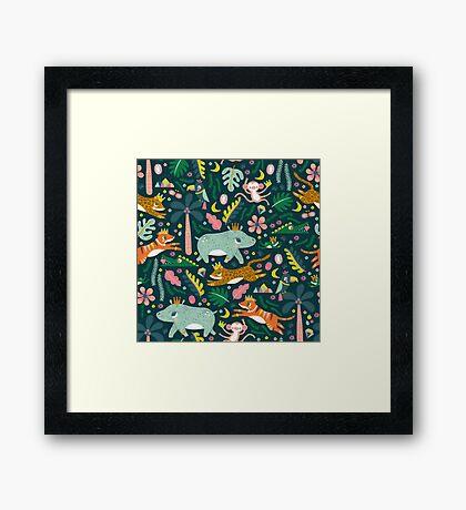 Jungle Buddies Cute Pattern Framed Print