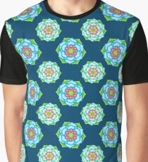 Cabbage Flowers on Teal Graphic T-Shirt