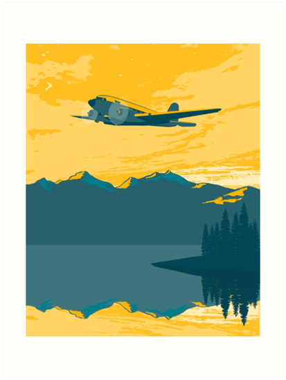 Vintage Plane Over The Mountains by blue67sign