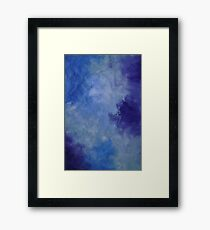 Moonlit Pool Blue modern abstract painting contemporary Framed Print