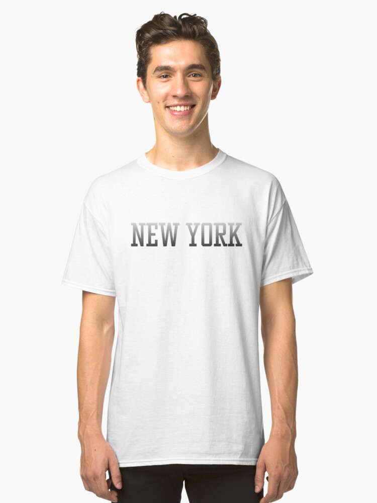 New York City Text Black Text White Fade to Black on Black Classic T-Shirt Front