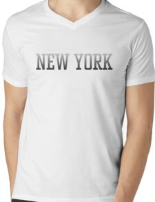 New York City Text Black Text White Fade to Black on Black Mens V-Neck T-Shirt