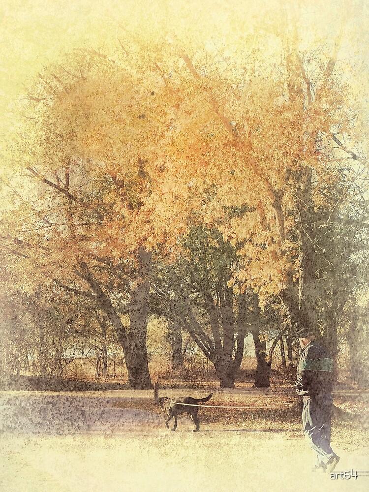 Walking The Dog Autumn Scene by art64