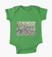 Colorful Oil Pastel Scribbles One Piece - Short Sleeve