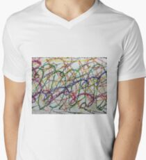 Colorful Oil Pastel Scribbles Men's V-Neck T-Shirt
