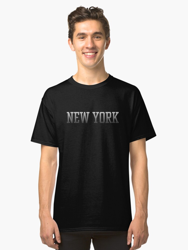 New York White text on Black Fade to Black Classic T-Shirt Front