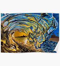 Crashing Wave Sunset Painting - Hawaiian Gold II Poster