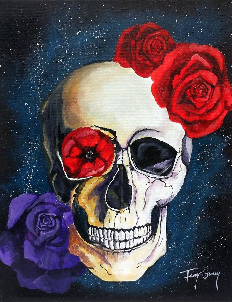 The Flowers and A Skull; Original Acrylic Painting on Stretched Canvas; Galaxy by Terry Ganey