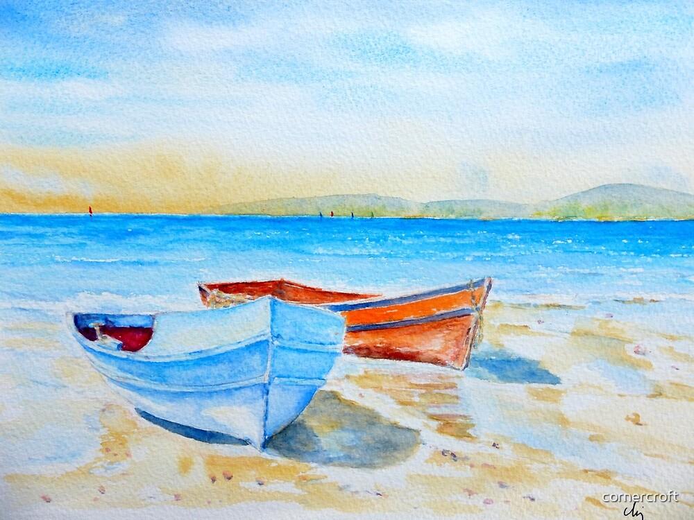 Watercolor Seaside Fishing Boats by cornercroft