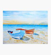 Watercolor Seaside Fishing Boats Photographic Print