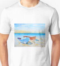 Watercolor Seaside Fishing Boats Unisex T-Shirt