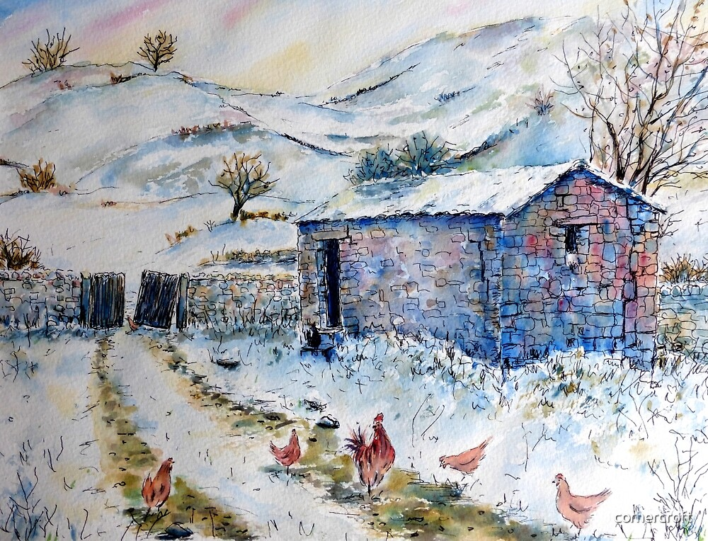 Watercolor painting Snow Barn and Chickens  by cornercroft