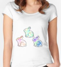 Tie Dye Cute Bunnies Pack Women's Fitted Scoop T-Shirt