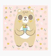 Cute Bear and His Plant Photographic Print