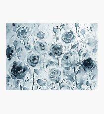 Watercolor floral pattern gray roses Photographic Print