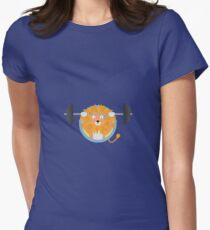 Muscle Lion with weights Womens Fitted T-Shirt