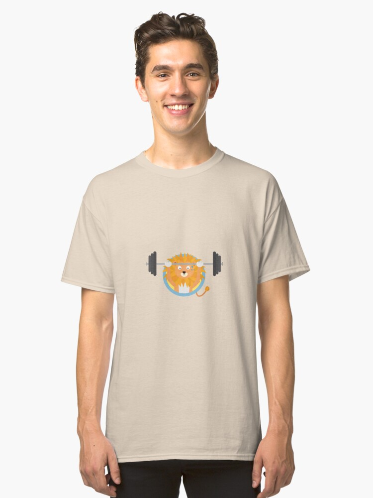 Muscle Lion with weights Classic T-Shirt Front