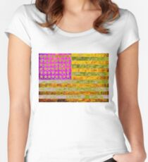 Pink, yellow and green flag appropriated from Jasper Johns Women's Fitted Scoop T-Shirt