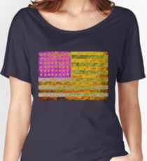 Pink, yellow and green flag appropriated from Jasper Johns Women's Relaxed Fit T-Shirt
