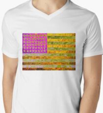 Pink, yellow and green flag appropriated from Jasper Johns Mens V-Neck T-Shirt