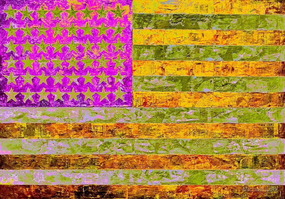 Pink, yellow and green flag appropriated from Jasper Johns by Michael Lehr