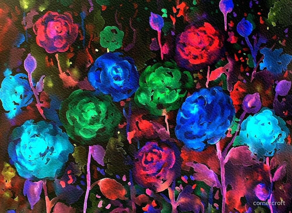 Watercolor Dark Rose Pattern by cornercroft