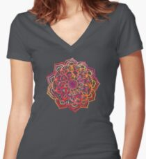 Watercolor Medallion in Sunset Colors Women's Fitted V-Neck T-Shirt