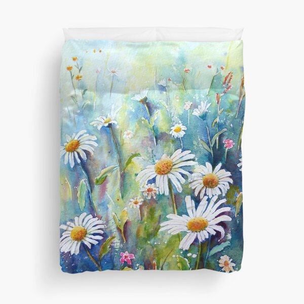 Watercolour Painting of Daisy Field Duvet Cover