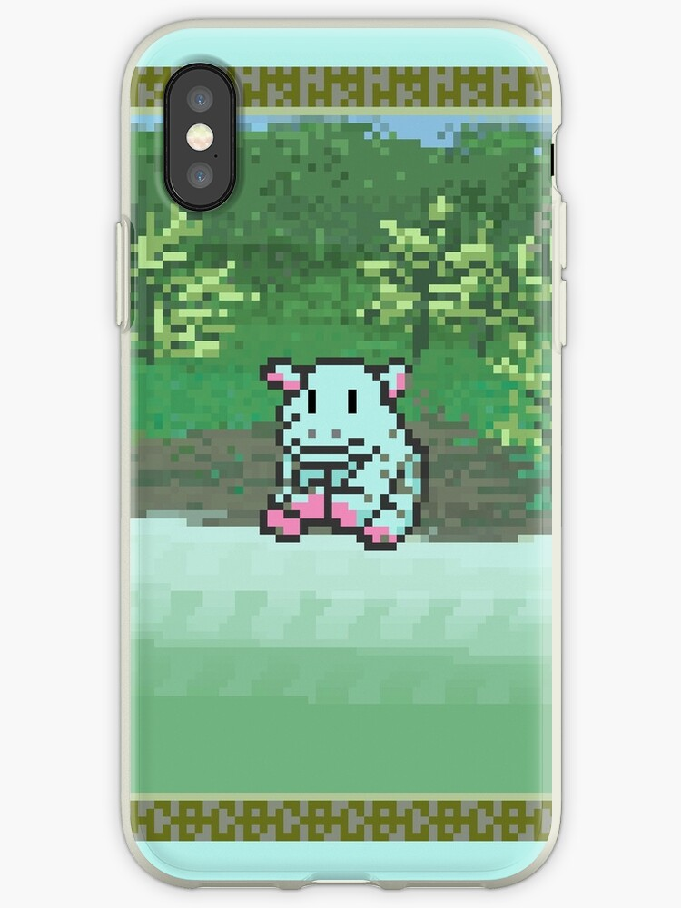 Pixel Blue Hippo by Tufukins