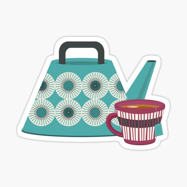 Mid-Century Modern Tea Time Sticker