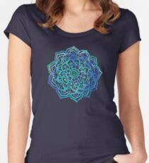 Watercolor Medallion in Ocean Colors Women's Fitted Scoop T-Shirt