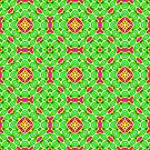 Pink Green and Yellow Abstract Print 02 by Ruth Moratz