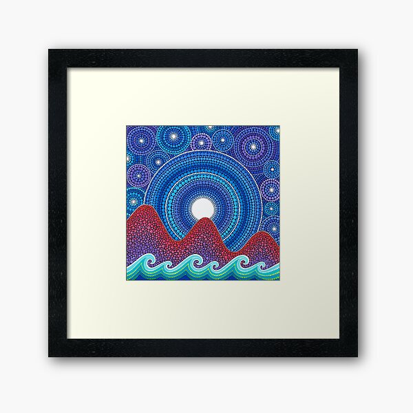 3 mountains and a moon Framed Art Print