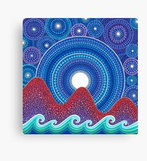 3 mountains and a moon Canvas Print