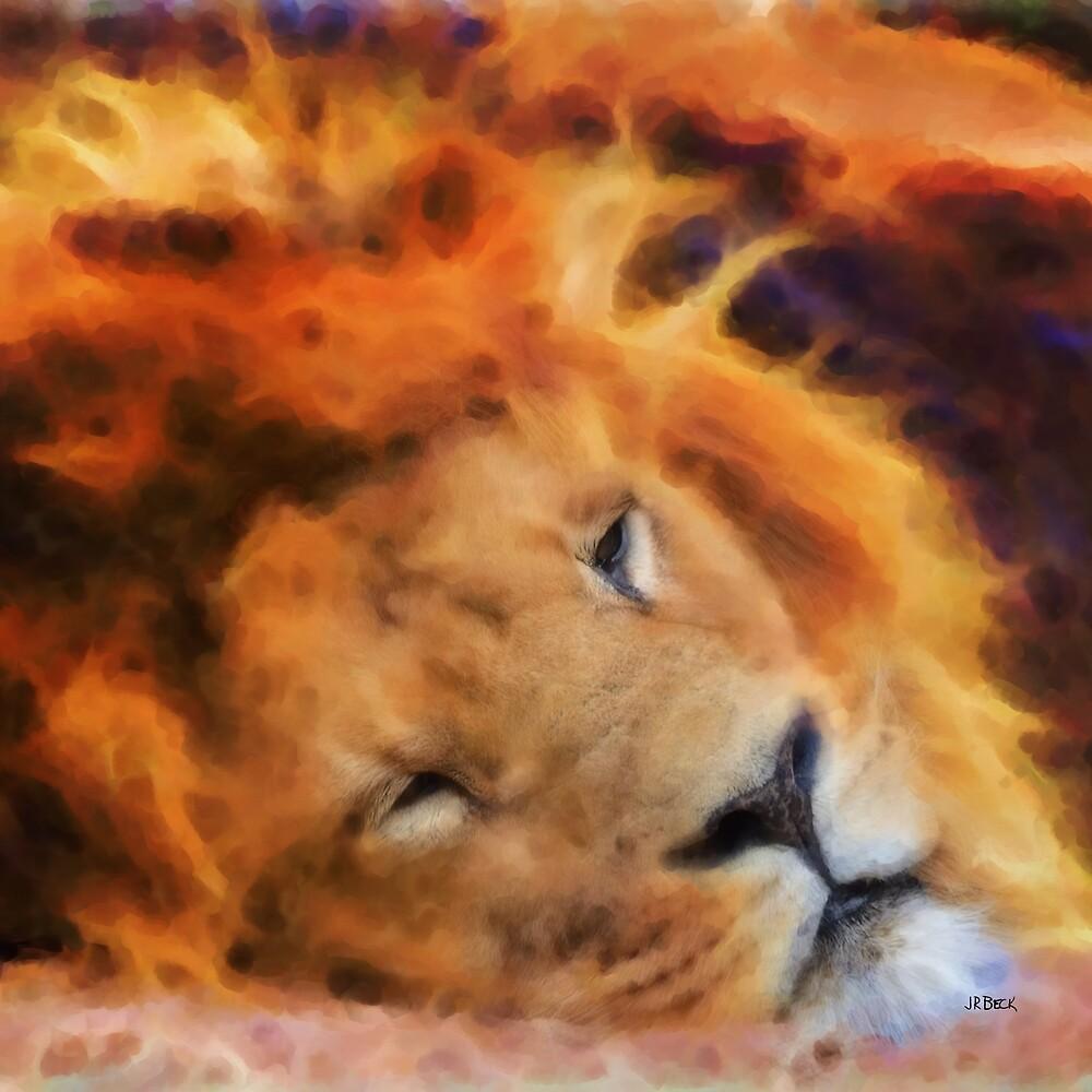 Sleeping Lion (Square Version) - By John Robert Beck by studiobprints