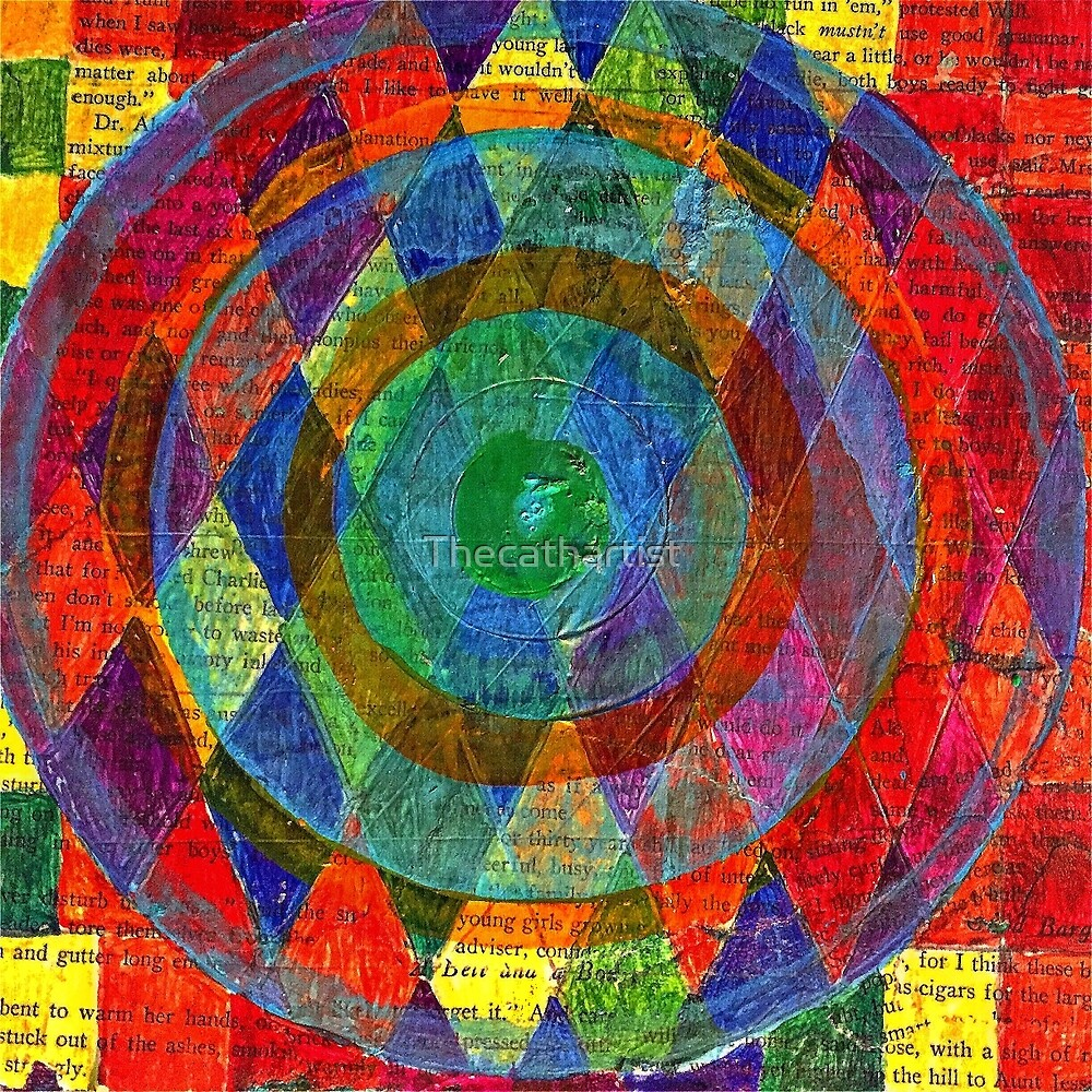 Geometric Kaleidescope on Vintage Paper by Thecathartist