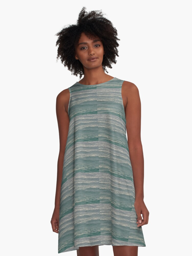 Green Waves A-Line Dress Front