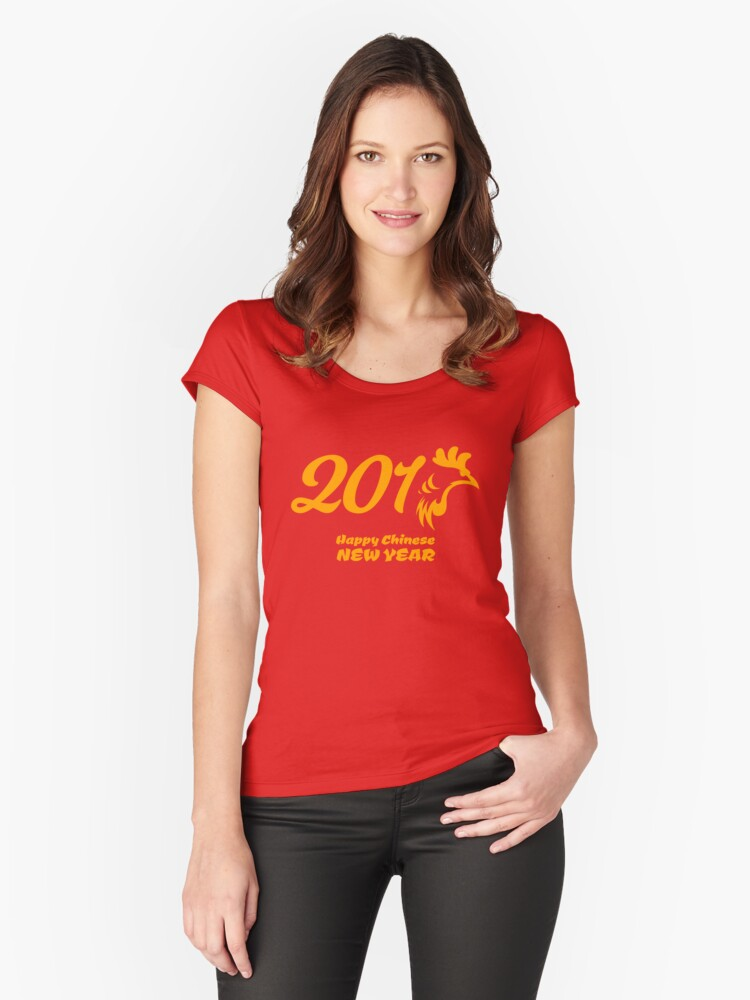 Chinese New Year 2017 Year of The Rooster Women's Fitted Scoop T-Shirt Front