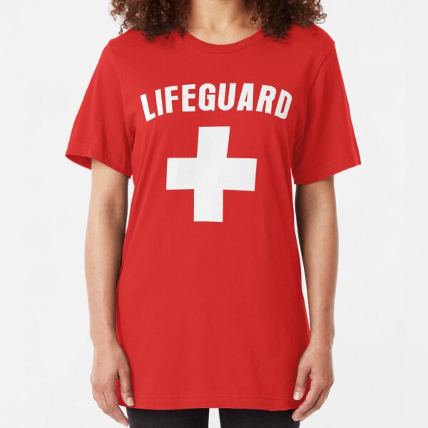 Party Costume Halloween  Life Guard Red Cross Mens White Long Sleeve T-Shirt