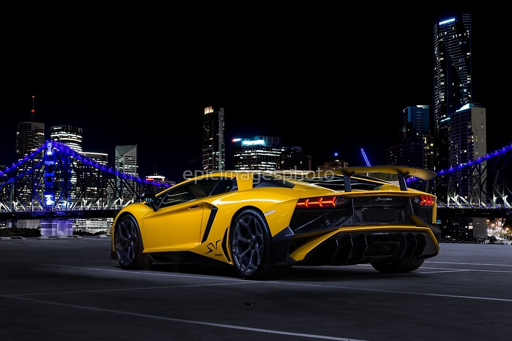 Yellow Supercar City Skyline by epicimagesphoto