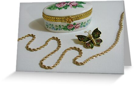 Rose Jewelry Box with Gold Chain & Butterfly by DuBryOriginals