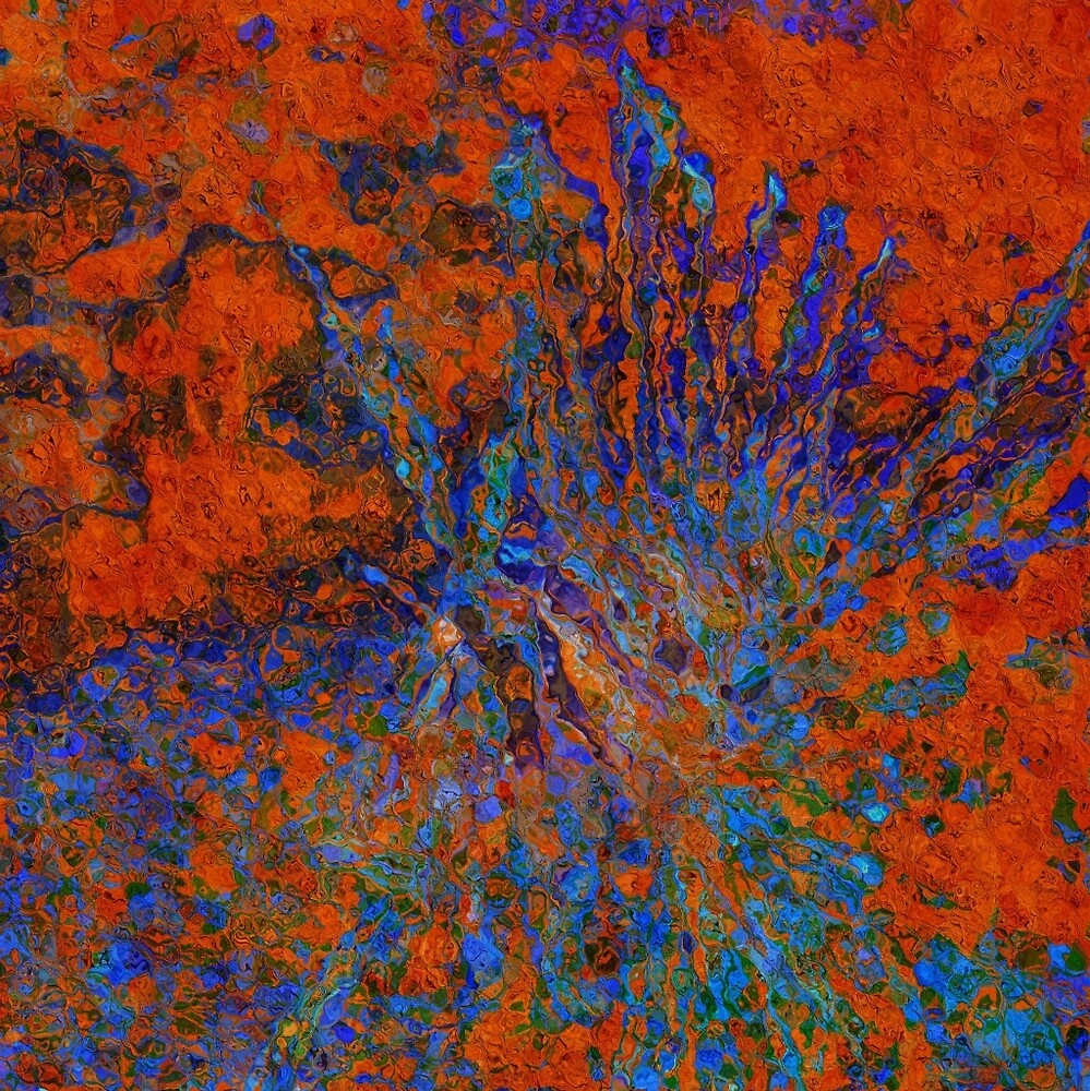 Orange and Blue Abstract by AnneYungwirth